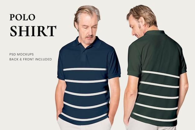 Mockup editable de polo maduro psd para anuncio de ropa básica