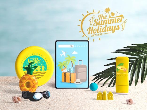 Mockup editable de tableta con elementos de verano