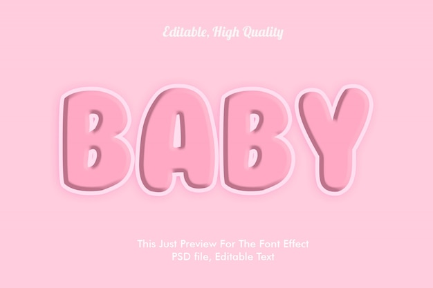Mockup effetto carattere rosa baby