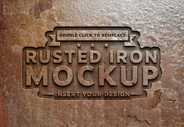 Mockup effetto testo in metallo arrugginito