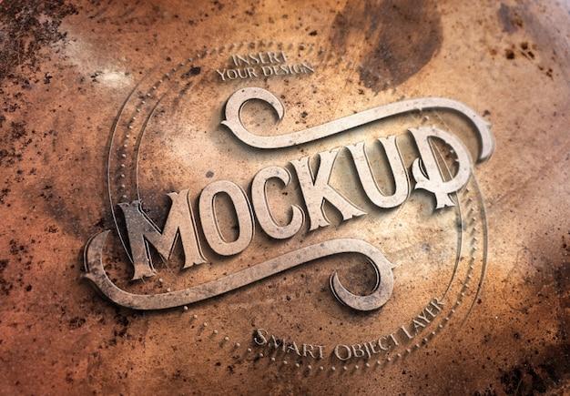 Mockup effetto testo in metallo ramato