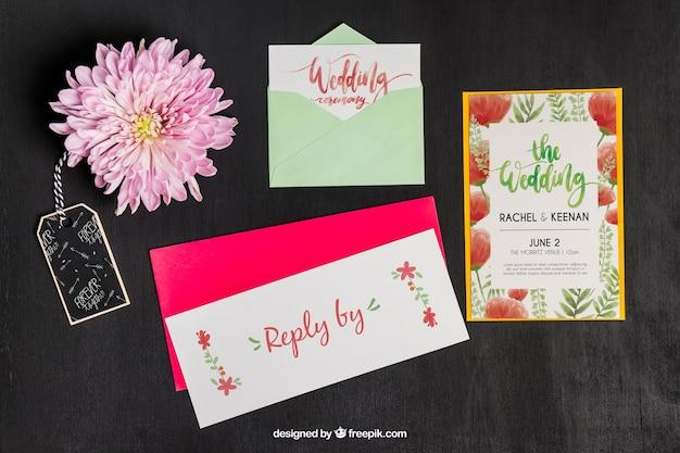 Mockup elegante de papelería para boda