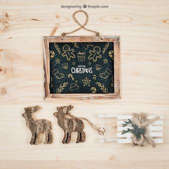 Mockup de elementos bonitos con diseño de navidad