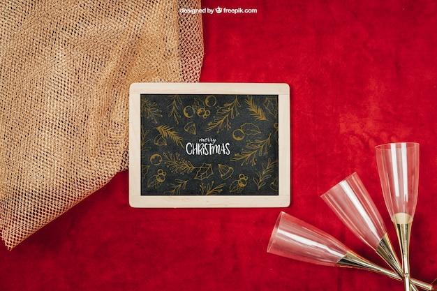 Mockup de elementos elegante con diseño de navidad