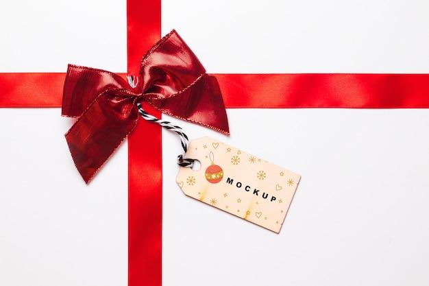 Mockup de etiqueta con concepto de navidad