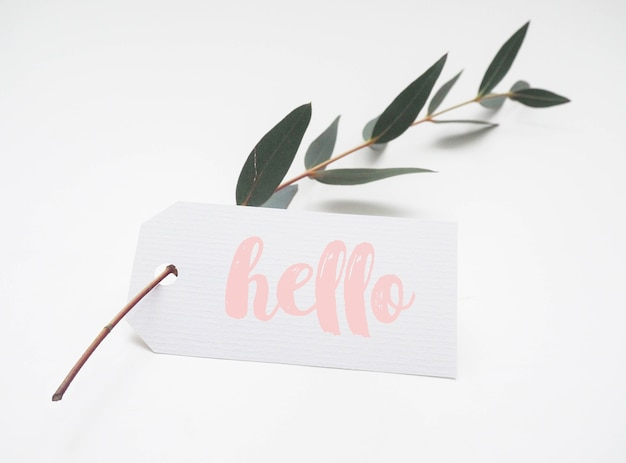Mockup de etiqueta de papel en rama