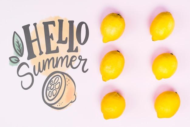 Mockup flat lay de copyspace con frutas de verano