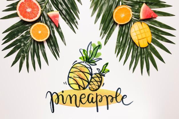 Mockup flat lay de copyspace con frutas