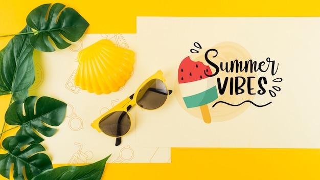 Mockup flat lay de tarjeta para conceptos de verano