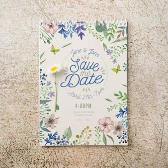 Mockup floral de invitación de boda