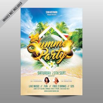 Mockup de flyer creativo de fiesta en playa