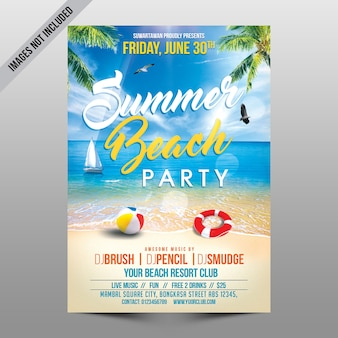 Mockup de flyer de fiesta en playa