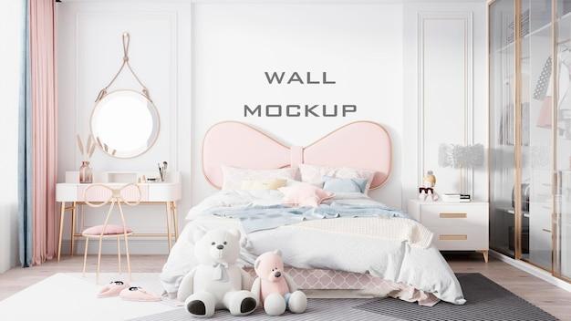 Mockup de fondo de papel tapiz de habitación de niños interior psd premium