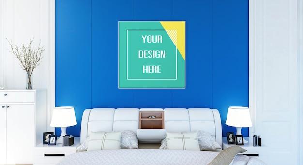 Mockup fotolijst op slaapkamermuur
