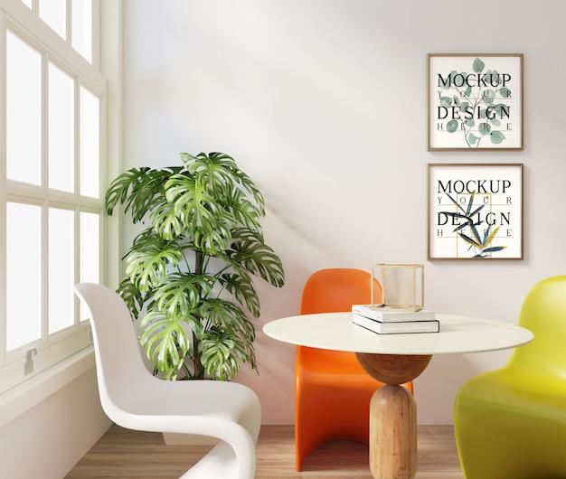 Mockup frame in moderne eenvoudige eetkamer met moderne stoelen