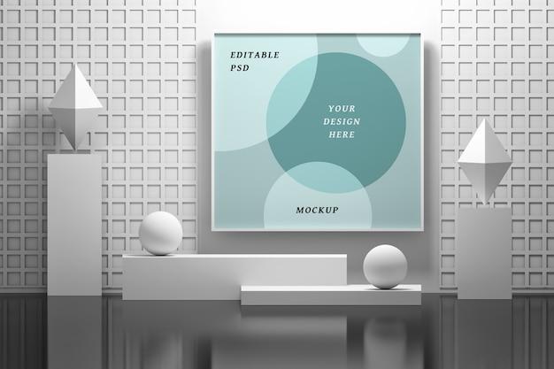 Mockup frame opknoping op de muur in een abstract interieur