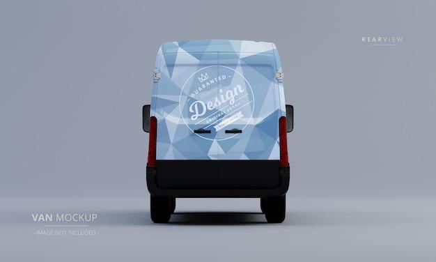Mockup genérico de furgoneta con vista trasera
