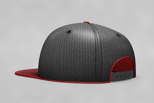 Mockup de gorra de béisbol negra y roja