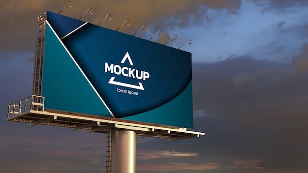 Mockup groot reclamebord weergegeven op de buitenlucht. 3d renderen.