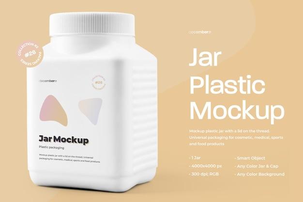 Mockup grote plastic pot met dopontwerp