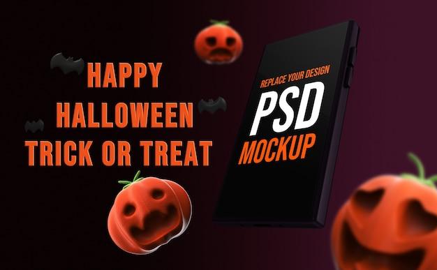 Mockup halloween-smartphoneontwerp 3d-rendering