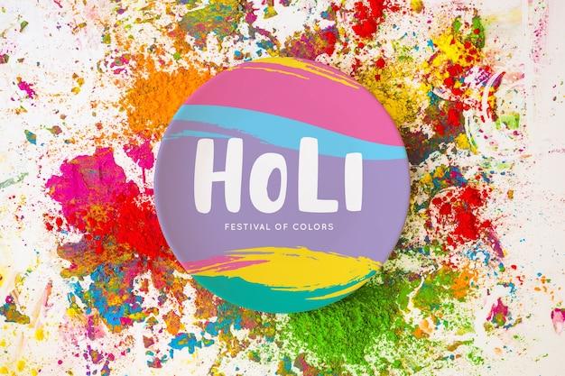 Mockup del holi festival con plato redondo