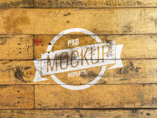 Mockup houten muur realistisch effect