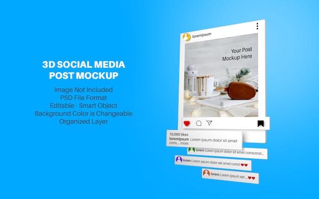 Mockup in 3d-stijl voor instagram-berichten op sociale media