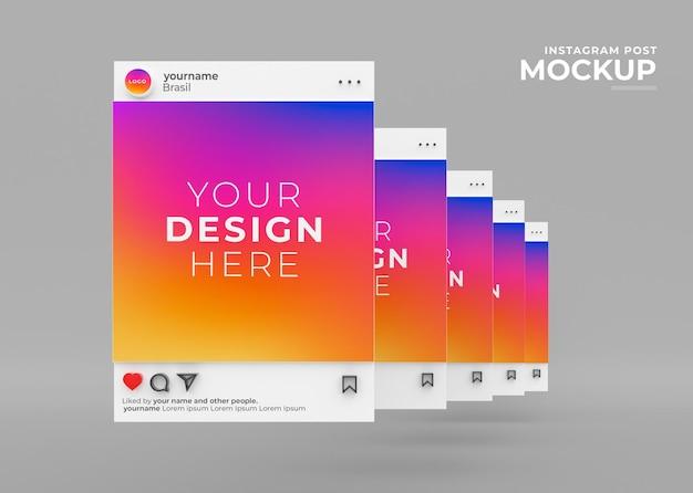 Mockup instagram post sociale media feed d render