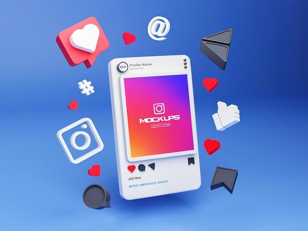 Mockup instagram sociale media 3d