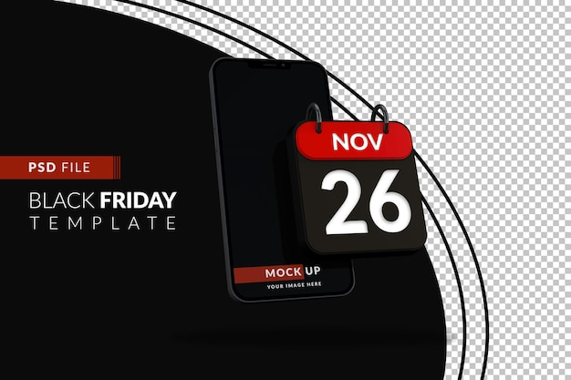Mockup iphone-display voor black friday-verkoop met 3d-kalenderpictogram