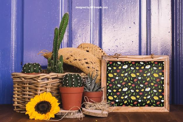 Mockup de jardinería con cactus