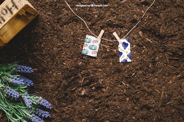 Mockup de jardinería con pequeñas cartas