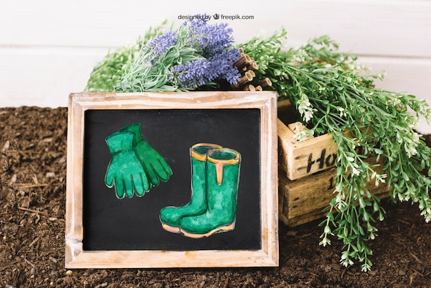 Mockup de jardinería con pizarra apoyada
