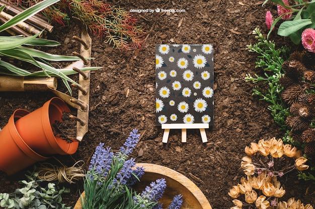 Mockup de jardinería con tablón