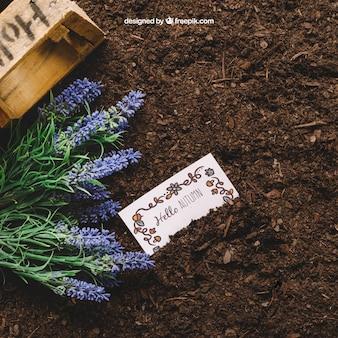 Mockup de jardinería con tarjeta