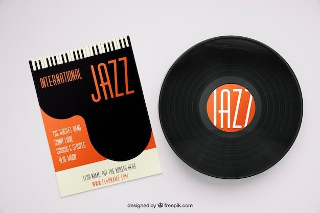 Mockup de jazz con vinilo y revista