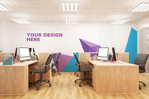 Mockup kantoor logo ontwerp muur