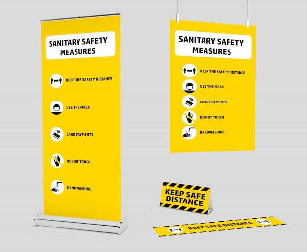 Mockup-kit van signage voor de nieuwe normaliteit na de covid-19 pandemic