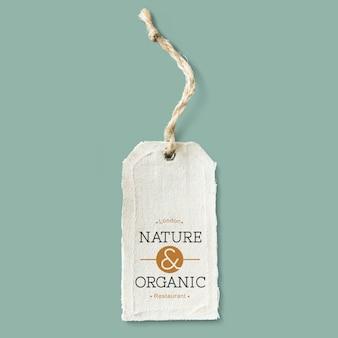 Mockup label met natuurlijke katoenen doek