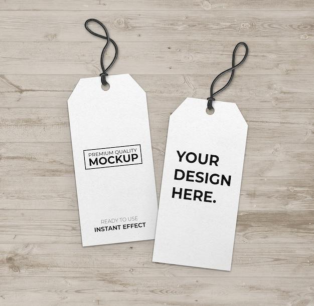 Mockup lang wit label met zwarte strip