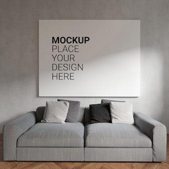 Mockup leeg fotolijstje aan de muur