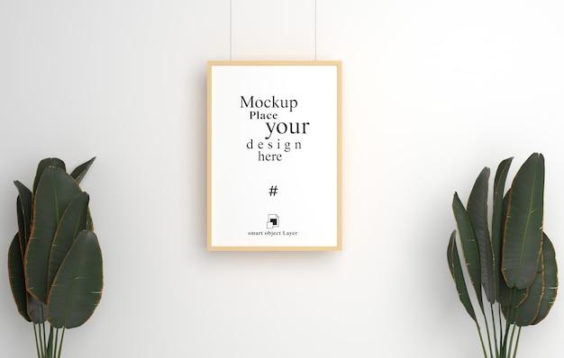 Mockup lege fotolijst opknoping voor mockup in lege witte kamer,