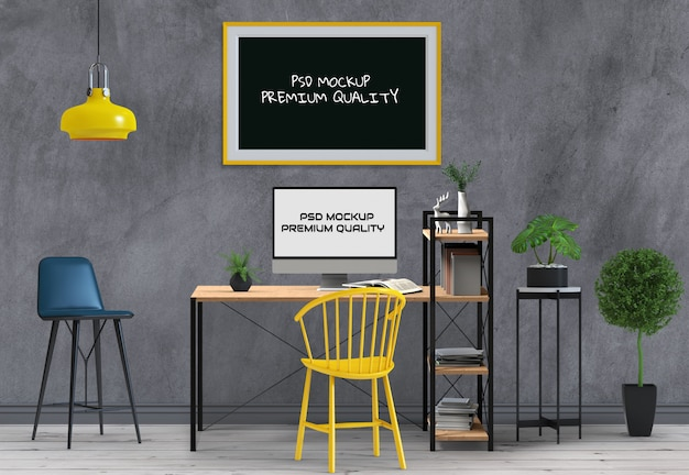 Mockup lege poster desktopcomputer. 3d render.