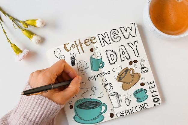 Mockup de libreta con concepto de café