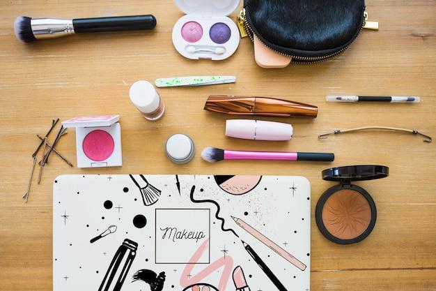 Mockup de libro con concepto cosmético
