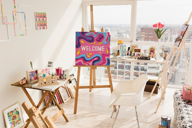 Mockup de lienzo con concepto de arte