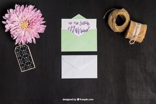 Mockup lindo de papelería para boda