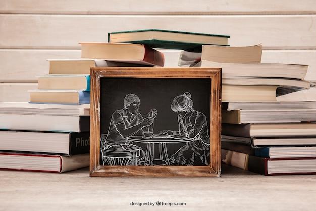 Mockup de literatura con pizarra y montón