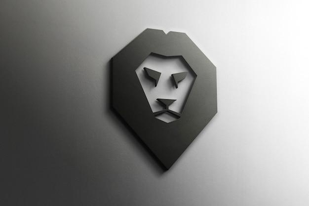 Mockup logo 3d lion